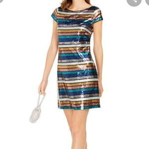 Vince Camuto striped sequin tshirt dress